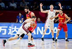 Janis Strelnieks of Latvia  vs Bojan Dubljevic of Montenegro during basketball match between National Teams of Latvia and Montenegro at Day 11 in Round of 16 of the FIBA EuroBasket 2017 at Sinan Erdem Dome in Istanbul, Turkey on September 10, 2017. Photo by Vid Ponikvar / Sportida