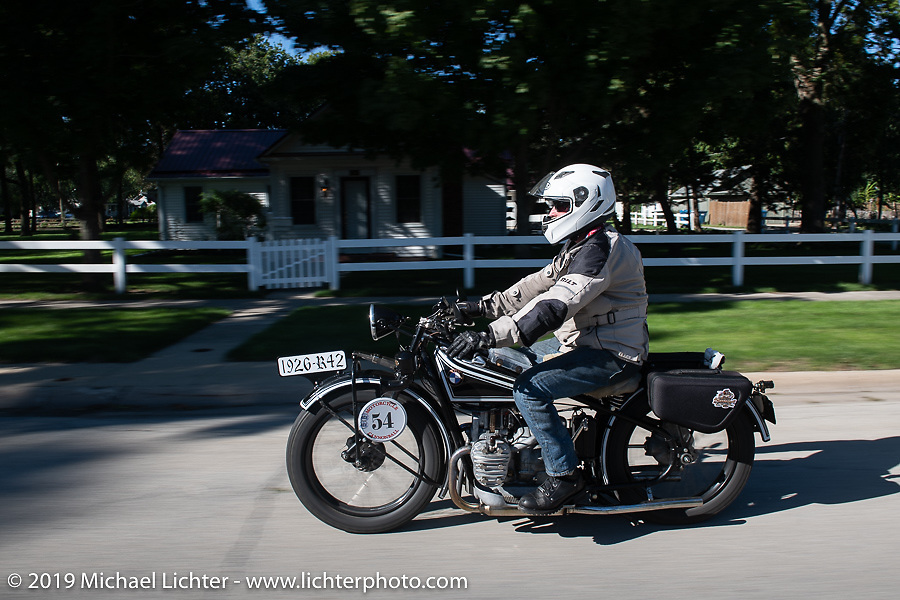 Brent Hansen riding his 1926 BMW R42 in the Motorcycle Cannonball coast to coast vintage run. Stage 5 (229 miles) from Bowling Green, OH to Bourbonnais, IL. Wednesday September 12, 2018. Photography ©2018 Michael Lichter.