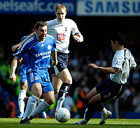Photo: Ed Godden/Sportsbeat Images.<br /> Chelsea v Tottenham Hotspur. The FA Cup. 11/03/2007.<br /> Chelsea's Andriy Shevchenko (L), gets past Michael Dawson and is met by Young-Pyo Lee (R).