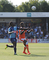 Blackpool's Armand Gnanduillet vies for possession with Wycombe Wanderers' Anthony Stewart<br /> <br /> Photographer Kevin Barnes/CameraSport<br /> <br /> The EFL Sky Bet League One - Wycombe Wanderers v Blackpool - Saturday 4th August 2018 - Adams Park - Wycombe<br /> <br /> World Copyright © 2018 CameraSport. All rights reserved. 43 Linden Ave. Countesthorpe. Leicester. England. LE8 5PG - Tel: +44 (0) 116 277 4147 - admin@camerasport.com - www.camerasport.com