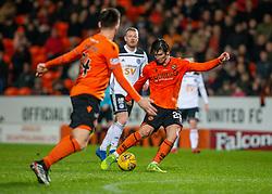 Dundee United's Ian Harkes scoring their fourth goal. Dundee United 4 v 0 Ayr United, Scottish Championship game played 21/12/2019 at Dundee United's stadium Tannadice Park.