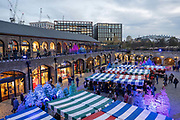 Independent Label Market at Coal Drops Yard on the 30th November 2019 in London in the United Kingdom. Coal Drops Yard is a retail development that forms part of the Kings Cross Central development scheme in London. The development was designed by Thomas Heatherwick and opened in October 2018.