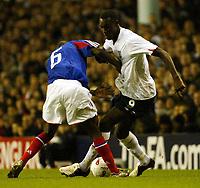 Photo: Chris Ratcliffe.<br /> England v France. U21 European Championships.<br /> 11/11/2005.<br /> Carlton Cole spins away from Rio Antonio Mavuba