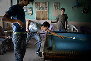 Local man playing billiard at the small town of Aralik.<br /> <br /> Aralik is a last town   located on the road along the Armenian border to the border-cross to The Nakhichivan Autonomous Republic - landlocked exclave of Azerbaijan.