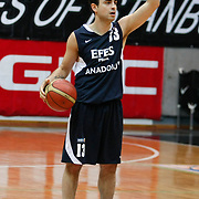 Efes Pilsen's Ender ARSLAN during their Turkish Basketball league derby match Besiktas between Efes Pilsen at the BJK Akatlar Arena in Istanbul Turkey on Saturday 30 April 2011. Photo by TURKPIX