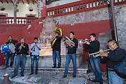 A Mexican band plays outside the Cultural Center in the historic district of San Miguel de Allende, Guanajuato, Mexico.