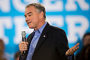 Senator Tim Kaine (D-VA) introduces Hillary Clinton, presumptive 2016 Democratic presidential nominee, campaigns (not pictured) at Northern Virginia Community College in Annandale, Va., U.S., on Thursday, July 14, 2016. Clinton and the former Virginia Governor discussed their shared commitment to building an America that is stronger together, while emphasizing that Donald Trump's divisive agenda would be dangerous for America. Kaine is considered to be the frontrunner for the Vice Presidential slot. Photographer: Pete Marovich/Bloomberg