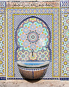 A Sebil (water fountain) and Decorative tiles at Nuzha mosque, Jaffa, Israel