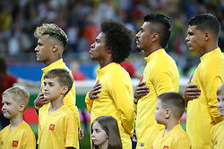 ROSTOV-ON-DON, June 17, 2018  Players of Brazil line up prior to a group E match between Brazil and Switzerland at the 2018 FIFA World Cup in Rostov-on-Don, Russia, June 17, 2018. (Credit Image: © Li Ming/Xinhua via ZUMA Wire)