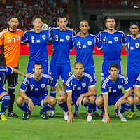 Members of Team Israel pose for a group photo before the friendly football match Hungary playing against Israel in Budapest, Hungary on August 15, 2012. ATTILA VOLGYI