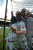 Photo: Tony Oudot/Richard Lane Photography. <br /> Southend United v Swansea City. Coca-Cola League One. 21/03/2008. <br /> Swansea players celebrate Jason Scotlands opening goal and break the net in doing so
