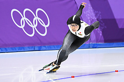PYEONGCHANG, Feb. 18, 2018  Japan's Nao Kodaira competes during ladies' 500m final of speed skating at the 2018 PyeongChang Winter Olympic Games at Gangneung Oval, Gangneung, South Korea, Feb. 18,  2018. Nao Kodaira claimed champion in a time of 36.94 and set a new Olympic record. (Credit Image: © Ju Huanzong/Xinhua via ZUMA Wire)