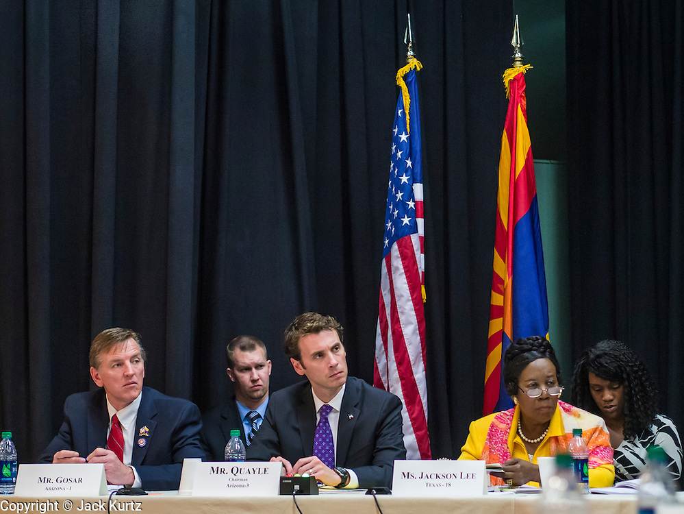 21 MAY 2012 - PHOENIX, AZ:    US Representatives PAUL GOSAR (R AZ 1) left, BEN QUAYLE (R AZ 3) and SHEILA JACKSON LEE (D TX 18) at the US House of Representatives Committee on Homeland Security, Subcommittee on Border and Maritime Security meeting Monday in Phoenix to talk about ways to improve information-sharing among government law enforcement agencies to thwart the flow of illicit drugs from Mexico into Arizona. Republican Congressman Paul Gosar and Ben Quayle, both from Arizona, and Democratic Congresswoman Sheila Jackson Lee, from Texas, attended the meeting.             PHOTO BY JACK KURTZ