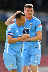 Coventry City's Michael Doyle (left) and Chris Stokes celebrate at the final whistle