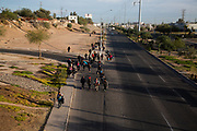 The Central American migrants walk from Mexicali, Mexico to Tijuana, Mexico as the part of migrant caravan on November 20th, 2018. Their goal is to reach to Tijuana in hopes of seeking asylum in the US.