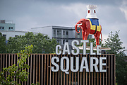 The iconic Elephant at Elephant and Castle in south London, has returned after restoration, to its new place overlooking Elephant Square, on 8th July 2021, in London, England. The statue, a replica of the one that stood above the Elephant and Castle pub from 1898 to 1959, was taken down earlier this year from outside the recently demolished shopping centre.
