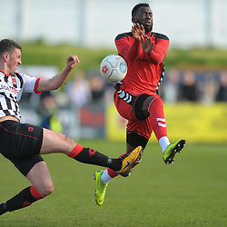 TELFORD COPYRIGHT MIKE SHERIDAN 6/4/2019 - Amari Morgan Smith of AFC Telford battles for the ball with Scott Leather of Chorley during the Vanarama Conference North fixture between Chorley FC and AFC Telford United at Victory Park