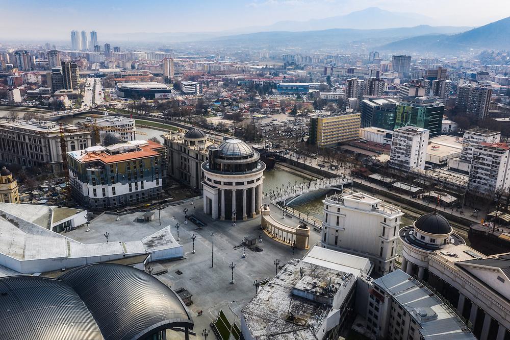 Aerial view of Skopje, North Macedonia