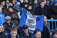 Sheffield Wednesday fans with Wembley flag during the Sky Bet Championship match between Sheffield Wednesday and Cardiff City at Hillsborough, Sheffield, England on 30 April 2016. Photo by Phil Duncan.