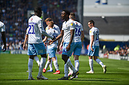 Coventry City Players Celebrate after Coventry City Forward, Jordy Hiwula (11) scores a goal to make it 0-1 during the EFL Sky Bet League 1 match between Portsmouth and Coventry City at Fratton Park, Portsmouth, England on 22 April 2019.