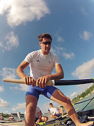 Munich, GERMANY,    General Views, GV's,  of the Boathouse and  Boating Area, GBR M4-. Tom JAMES,,  Boating for their morning training outing. 2012 World Cup III on the Munich Olympic Rowing Course,  Thursday  14/06/2012  [Mandatory Credit Peter Spurrier/ Intersport Images]..