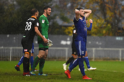 Metropolitan Police's Max Blackmore reacts after seeing his effort saved during the Emirates FA Cup first round match at Imber Court, London.