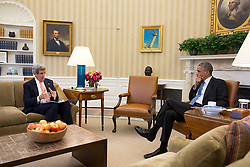 President Barack Obama meets with Secretary of State John Kerry in the Oval Office, Oct. 30, 2014. (Official White House Photo by Chuck Kennedy)<br /> <br /> This official White House photograph is being made available only for publication by news organizations and/or for personal use printing by the subject(s) of the photograph. The photograph may not be manipulated in any way and may not be used in commercial or political materials, advertisements, emails, products, promotions that in any way suggests approval or endorsement of the President, the First Family, or the White House.