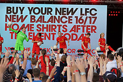 LIVERPOOL, ENGLAND - Monday, May 9, 2016: Liverpool's goalkeeper Simon Mignolet, Philippe Coutinho Correia, captain Jordan Henderson, Jon Flanagan and Gemma Bonner at the launch of the New Balance 2016/17 Liverpool FC kit at a live event in front of supporters at the Royal Liver Building on Liverpool's historic World Heritage waterfront. (Pic by David Rawcliffe/Propaganda)