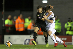 """Wigan's Sam Morsy (right) holds off Fylde's Sam Finley during the Emirates FA Cup second round match at Mill Farm, Flyde. PRESS ASSOCIATION Photo Picture date: Friday December 1, 2017. See PA story SOCCER Flyde. Photo credit should read: Richard Sellers/PA Wire. RESTICTIONS: EDITORIAL USE ONLY No use with unauthorised audio, video, data, fixture lists, club/league logos or """"live"""" services. Online in-match use limited to 75 images, no video emulation. No use in betting, games or single club/league/player publications."""