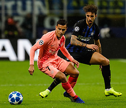 November 6, 2018 - Milan, Italy - Sime Vrsaljko (R) of Inter Milan and Philippe Coutinho of Barcelona vie for the ball during the Group B match of the UEFA Champions League between FC Internazionale and FC Barcelona on November 6, 2018 at San Siro Stadium in Milan, Italy. (Credit Image: © Mike Kireev/NurPhoto via ZUMA Press)