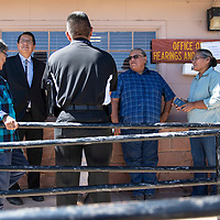Navajo Nation Presidential candidate Jonathan Nez and supporters outside the Office of Hearing and Appeals (OHA)  Wednesday, Sept. 26, 2018 in Window Rock following a hearing investigating a complaint filed by Vincent Yazzie against Nez.