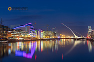 Samuel Beckett bridge at dusk over the River Liffey in downtown Dublin, Ireland
