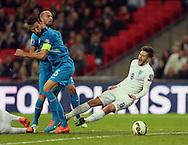 England's Adam Lallana tussles with Slovenia's Bostjan Cesar<br /> <br /> - International European Qualifier - England vs Slovenia- Wembley Stadium - London - England - 15th November 2014  - Picture David Klein/Sportimage