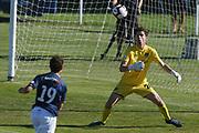 Hawke's Bay United Alex Britton makes a save in the Handa Premiership football match, Hawke's Bay v Auckland, Bluewater Stadium, Napier, Sunday, January 20, 2019. Copyright photo: Kerry Marshall / www.photosport.nz