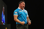 Gerwyn Price celebrates a 170 checkout during the BWIN Grand Slam of Darts at Aldersley Leisure Village, Wolverhampton, United Kingdom on 18 November 2018.