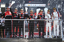 May 6, 2018 - Brands Hatch, Grande Bretagne - 2 BELGIAN AUDI CLUB TEAM WRT (BEL) AUDI R8 LMS DRIES VANTHOOR (BEl) WILL STEVENS (GBR) WINNERS OF THE RACE #1 BELGIAN AUDI CLUB TEAM WRT (BEL) AUDI R8 LMS ALEX RIBERAS (ESP) CHRISTOPHER MIES (DEU) SECOND OF THE RACE #88 AKKA ASP (FRA) MERCEDES AMG GT3 MICHAEL MEADOWS (GBR) RAFFAELE MARCIELLO (ITA) THIRD OF RACE 1 (Credit Image: © Panoramic via ZUMA Press)