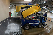 February 15, 2020:  The Zamboni driver empties the ice shaving during NCAA Hockey game action between the Minnesota Golden Gophers and the Notre Dame Fighting Irish at Compton Family Ice Arena in South Bend, Indiana.  Minnesota defeated Notre Dame 2-1.