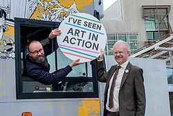 Pictured:  John Mason, MSP,  Scottish National Party Member of the Scottish Parliament for Glasgow Shettleston, took time out to engage with culture on his work doorstep. and met gallery driver Andrew Menzies<br /><br />The Travelling Gallery bus was to be found outside the Scottish Parliament today as part of the national Art in Action campaign. <br /><br />Ger Harley | EEm 1 October 2019