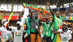 June 19, 2018 - Moscow, Russia - Fans of Senegal celebrate victory after a Group H match between Poland and Senegal at the 2018 FIFA World Cup in Moscow, Russia, June 19, 2018. Senegal won 2-1. (Credit Image: © Xu Zijian/Xinhua via ZUMA Wire)