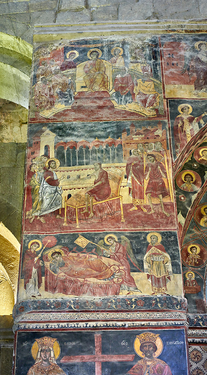 Pictures & images of the interior medieval frescoes depicting the Asumption of the Virgin. The Eastern Orthodox Georgian Svetitskhoveli Cathedral (Cathedral of the Living Pillar) , Mtskheta, Georgia (country). A UNESCO World Heritage Site.<br /> <br /> Currently the second largest church building in Georgia, Svetitskhoveli Cathedral is a masterpiece of Early Medieval architecture completed in 1029 by Georgian architect Arsukisdze on an earlier site dating back toi the 4th century. .<br /> <br /> Visit our MEDIEVAL PHOTO COLLECTIONS for more   photos  to download or buy as prints https://funkystock.photoshelter.com/gallery-collection/Medieval-Middle-Ages-Historic-Places-Arcaeological-Sites-Pictures-Images-of/C0000B5ZA54_WD0s<br /> <br /> Visit our REPUBLIC of GEORGIA HISTORIC PLACES PHOTO COLLECTIONS for more photos to browse, download or buy as wall art prints https://funkystock.photoshelter.com/gallery-collection/Pictures-Images-of-Georgia-Country-Historic-Landmark-Places-Museum-Antiquities/C0000c1oD9eVkh9c