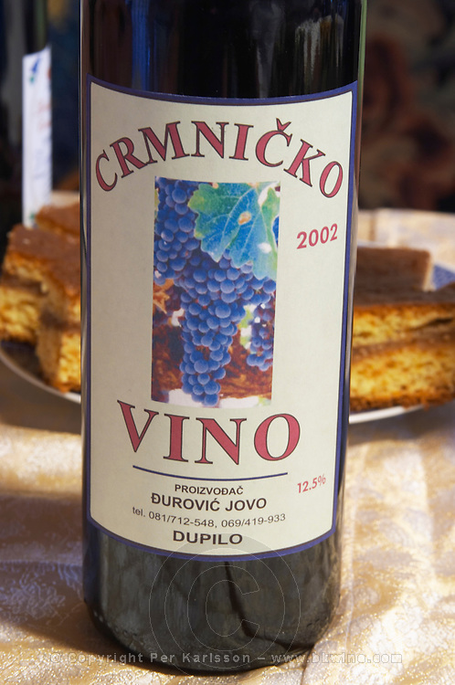 Crmnicko Vino 2002 red wine. Durovic Jovo Winery, Dupilo village, wine region south of Podgorica. Vukovici Durovic Jovo Winery near Dupilo. Montenegro, Balkan, Europe.