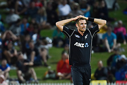 South Africa beats New Zealand by four wickets during an international match in Hamilton, New Zealand. 19 Feb 2017 Pictured: Tim Southee. Photo credit: ZUMA Press / MEGA TheMegaAgency.com +1 888 505 6342