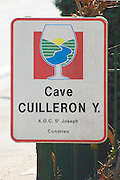 a sign indicating the winery. Domaine Yves Cuilleron, Chavanay, Ampuis, Rhone, France, Europe