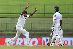 August 14, 2017 - Colombo, Sri Lanka - Indian cricketer Ravichandran Ashwin.. appeals during the 3rd Day's play in the 3rd and final Test match between Sri Lanka and India at the Pallekele international cricket stadium at Kandy, Sri Lanka on MOnday 14 August 2017. (Credit Image: © Tharaka Basnayaka/NurPhoto via ZUMA Press)