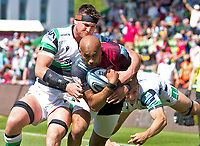 Rugby Union -2020/2021 Gallagher Premiership - Round 22 -<br />Harlequins vs Newcastle Falcons - The Stoop<br /><br />Aaron Morris powers away from Sean Robinson and Adam Radwan