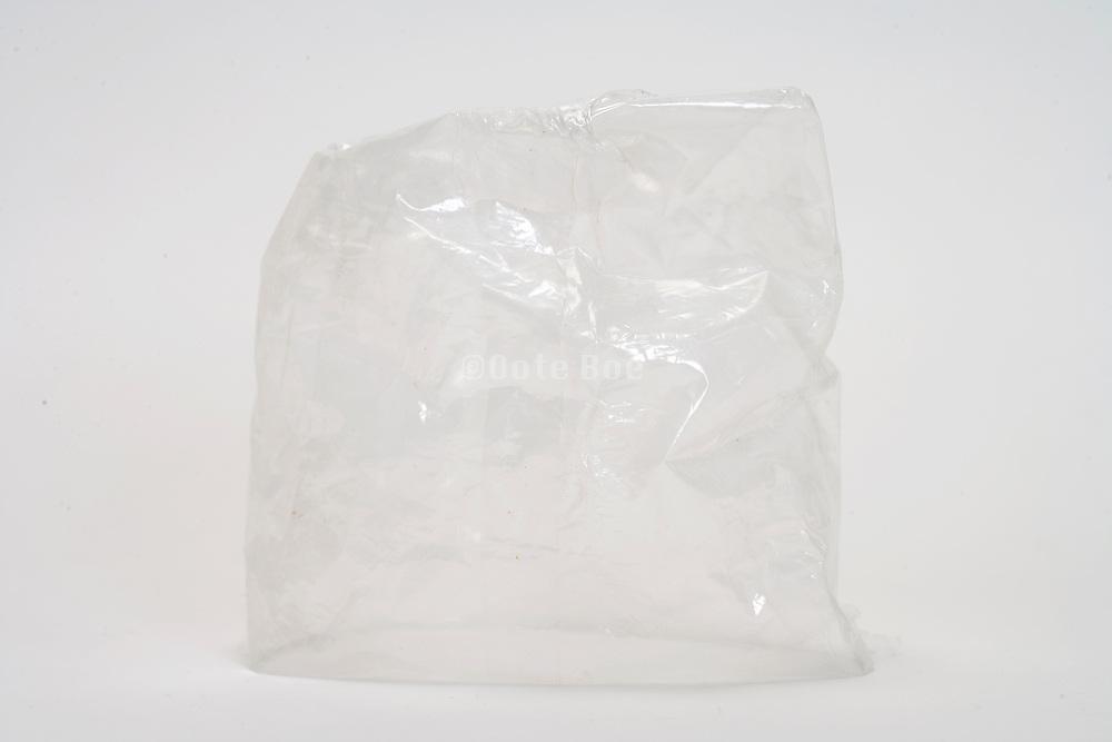 an empty transparent plastic bag upside down