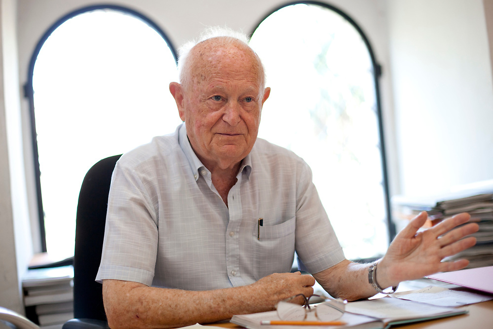 A portrait of Moshe Sanbar, chairman of the Organization of Holocaust Survivors in Israel and former Governor of the Bank of Israel at his office in Jerusalem, Israel, on September 12, 2011.