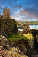 Ruined engine houses of Botallack Tin Mine, Near St Agnes, Cornwall . The Botallack Mine  is a former mine in Botallack in the west of Cornwall, England, UK. Since 2006 it has been part of the UNESCO World Heritage Site – Cornwall and West Devon Mining Landscape. The mine is within the Aire Point to Carrick Du Site of Special Scientific Interest (SSSI) and the South West Coast Path passes along the cliff..<br /> <br /> Visit our ENGLAND PHOTO COLLECTIONS for more photos to download or buy as wall art prints https://funkystock.photoshelter.com/gallery-collection/Pictures-Images-of-England-Photos-of-English-Historic-Landmark-Sites/C0000SnAAiGINuEQ