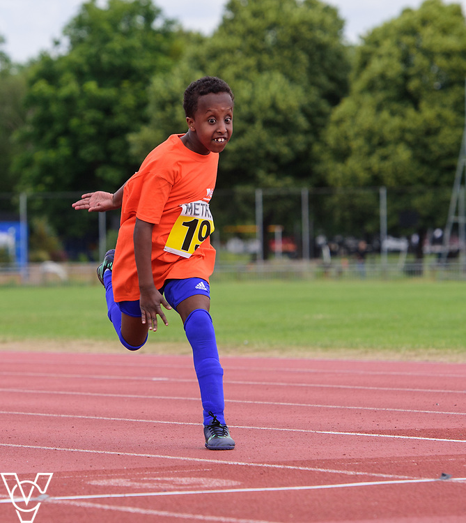 Event: 60 meters<br /> Competitors, from left: Ridwaan Hirse<br /> <br /> Metro Blind Sport's 42nd Athletics Open, held at Mile End Stadium, Tower Hamlets, London.<br /> <br /> Picture: Chris Vaughan Photography for Metro Blind Sports<br /> Date: June 16, 2018