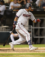 CHICAGO - JUNE 28:  Luis Arraez #2 of the Minnesota Twins bats against the Chicago White Sox on June 28, 2019 at Guaranteed Rate Field in Chicago, Illinois.  (Photo by Ron Vesely)  Subject:  Luis Arraez